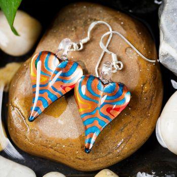 SUVANI Sterling Silver Hand Blown Glass Jewelry Orange Blue Stripe Heart Shaped Dangle Earrings