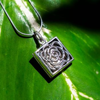 SUVANI 925 Oxidized Sterling Silver Rose Square Locket Pendant Necklace, 18 inch Snake Chain