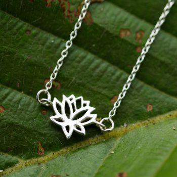 SUVANI 925 Sterling Silver Open Filigree Lotus Flower Blossom Charm Adjustable Chain Bracelet 6.5''-7.5''