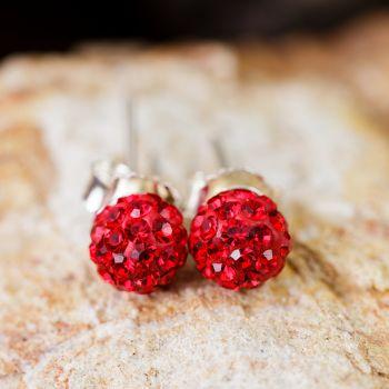 SUVANI 925 Sterling Silver Deep Red Crystal Rhinestone Disco Ball 7 mm Post Stud Earrings