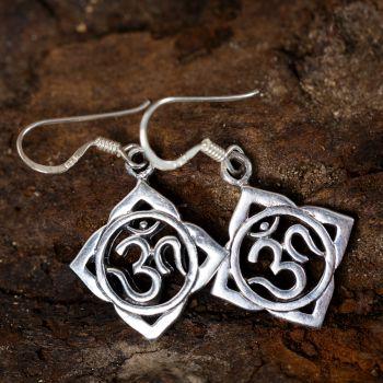 SUVANI 925 Sterling Silver Aum Om Ohm Lotus Leaf Symbol Chakra Yoga Dangle Hook Earrings, 33 mm