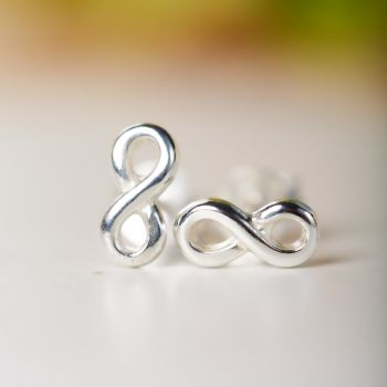 SUVANI Sterling Silver Tiny Classic Infinity Eternity Endless Love Symbol 8 mm Post Stud Earrings