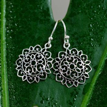 """SUVANI 925 Sterling Silver Open Filigree Mandala Heart Lotus Flower Dangle Hook Earrings 1.18"""""""