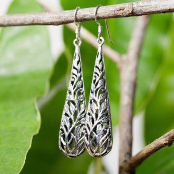 """SUVANI Oxidized Sterling Silver Bali Inspired Open Filigree Puffed Teardrop Dangle Hook Earrings 2.3"""""""