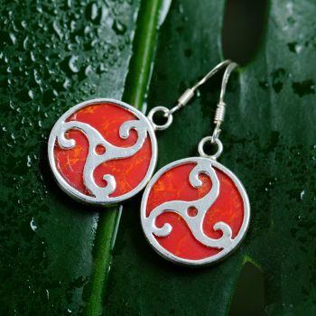 "SUVANI Sterling Silver Triple Spiral Triskele Triskelion Celtic Symbol Red Coral Dangle Hook Earrings 1.3"""