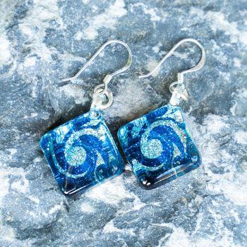 SUVANI Sterling Silver Glass Jewelry Glittery Blue Sea Wave Design Dangle Square Earrings