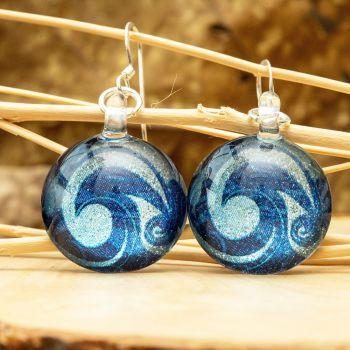 SUVANI Sterling Silver Glass Jewelry Glittery Blue Sea Wave Design Dangle Round Earrings