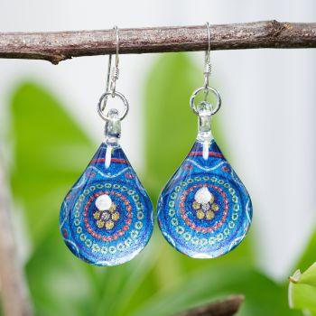SUVANI Sterling Silver Glass Jewelry Blue Abstract Art Flower Mandala Dangle Teardrop Earrings