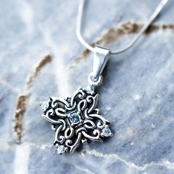 "Sterling Silver Aqua Swarovski Crystal Filigree Quaternary Mandala Witchknot Goddess Necklace 18"""