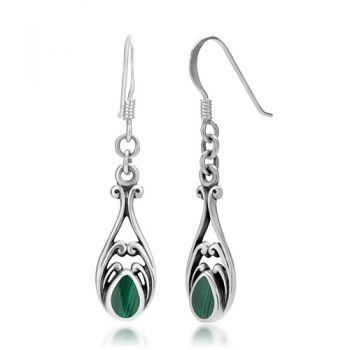 925 Sterling Silver Green Malachite Gemstone Filigree Dangle Hook Earrings