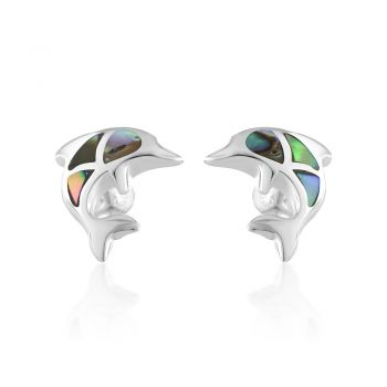 SUVANI 925 Sterling Silver Colored Dolphin Porpose Fish Post Stud Earrings