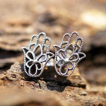 SUVANI Sterling Silver Cut Open Filigree Hamsa Hand of Fatima Flower Post Stud Earrings 10 mm