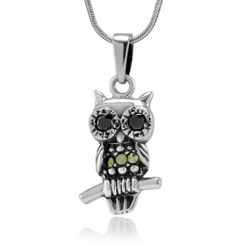 SUVANI Oxidized Sterling Silver Owl Bird Standing on Tree Branch Marcasite Pendant Necklace, 18 inches