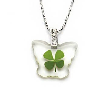 Stainless Steel Real Irish Four Leaf Clover Little Butterfly Pendant Necklace, 16-18 inches