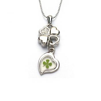 Stainless Steel Real Lucky Four Leaf Clover Shamrock Dangling Heart Pendant Necklace, 16-18 inches