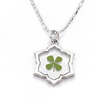 """Stainless Steel Real Four Leaf Clover Good Luck Symbol Flower Shaped Pendant Necklace, 16-18"""""""