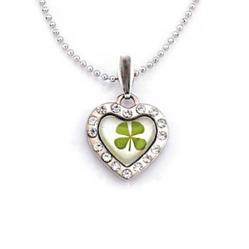 Stainless Steel Real Four Leaf Clover Good Luck Heart Pendant Necklace, 16-18 inches