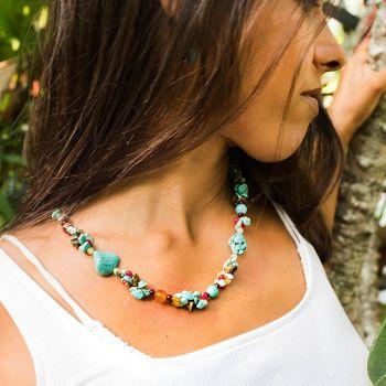 "SUVANI Blue Turquoise Tiger Eye and Multi Gemstone Clustered Quartz Beaded Silk Thread Necklace 20-22"""