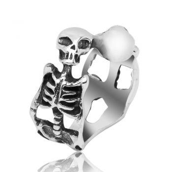 925 Sterling Silver Vintage Gothic Skull Skeleton Bone Biker Unisex Band Ring Size 6