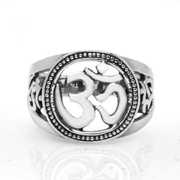 Sterling Silver Aum Om Ohm Sanskrit Yoga Meditation Filigree Unisex Round Band Ring 6, 7, 8